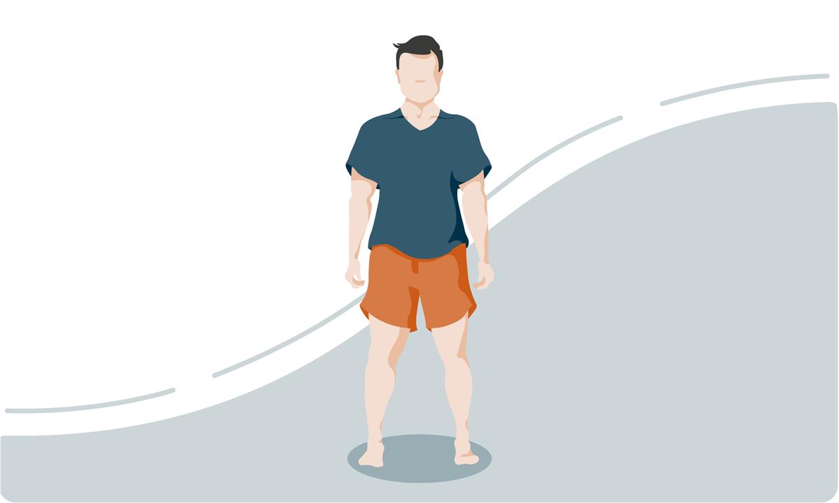 Breite Schultern und Hüfte
